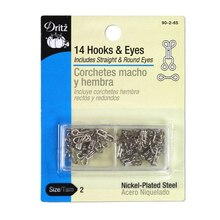 14 Nickel Plated Hooks & Eyes - Size 2