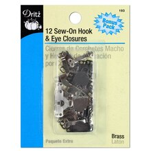 12 Sew-On Brass Hooks & Eyes