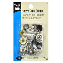 7 Black Heavy Duty Snaps - Size 24