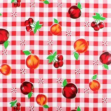 Red Gingham Fruit Oilcloth