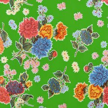 Lime Green Mums Oilcloth