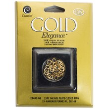 Cousin Gold Elegance Closed Ring, 14K Gold Plate, 25 Pieces