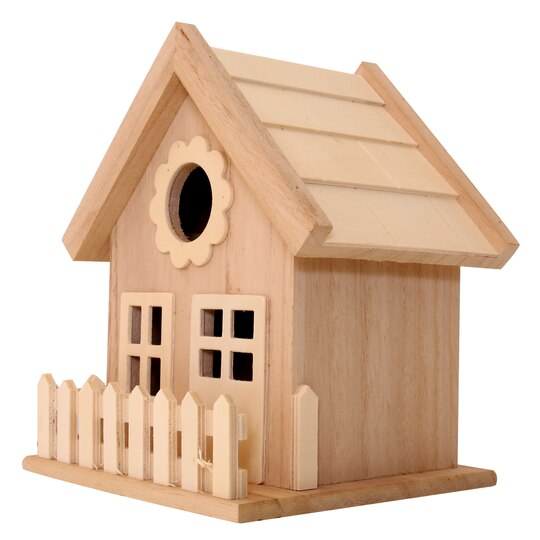 Find the wood birdhouse with fence by artminds at michaels for Find michaels arts and crafts