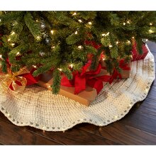 Cozy Lodge LED Lit Crochet Tree Skirt, medium