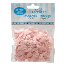 Offray Stylish Accents 2-Loop Bows with Pearls Value Pack, Light Pink