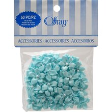 Offray 5-Petal Velvet Flowers with Pearls Value Pack, Turquoise
