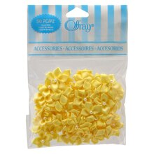 Offray 5-Petal Velvet Flowers with Pearls Value Pack, Yellow