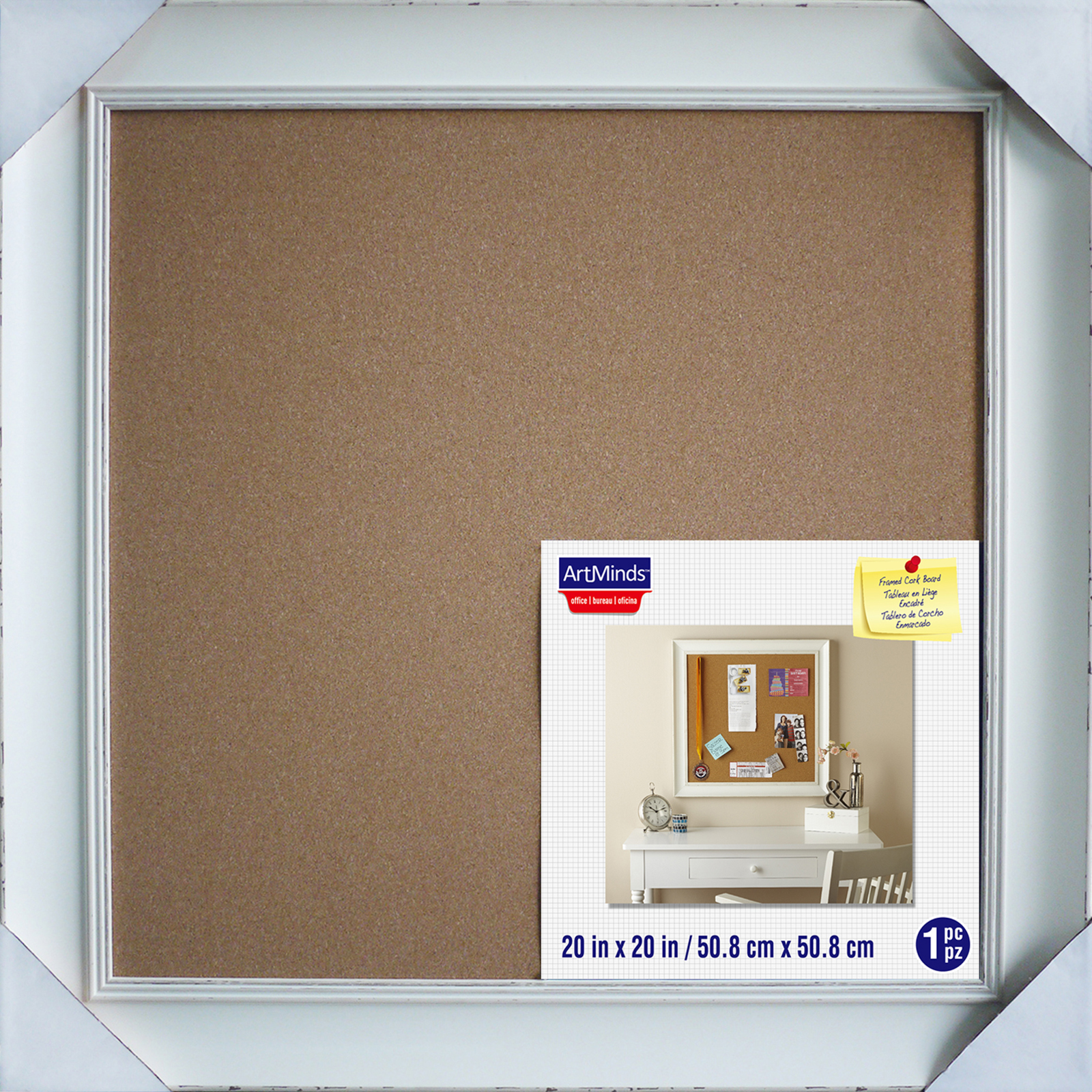 white framed cork board by artminds