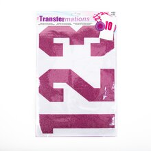 "Transfermations Iron-On Glitter Numbers, 8"" Pink"