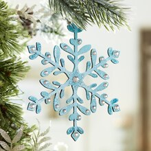Frost Wood Snowflake Ornaments, medium