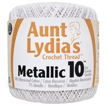 Aunt Lydia's Metallic Cotton Crochet Thread, White Pearl