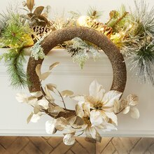 Frost Floral Glittered Wreath, medium
