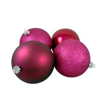 Red Raspberry Shatterproof 4-Finish Christmas Ball Ornaments