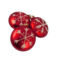Snowfall Valley Shatterproof Red Disc Snowflake Christmas Ornaments