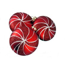 Candy Fantasy Shatterproof Matte Red Hot Swirl Christmas Ornaments