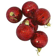 Lust Red Mirrored Glass Disco Ball Christmas Ornaments