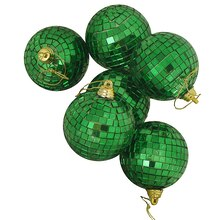 Green Mirrored Glass Disco Ball Christmas Ornaments