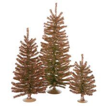 Set of 3 Sparkling Brown Artificial Christmas Trees, Unlit