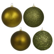 Olive Green Shatterproof 4-Finish Christmas Ball Ornaments