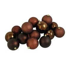 Chocolate Brown Shatterproof 4-Finish Christmas Ball Ornaments