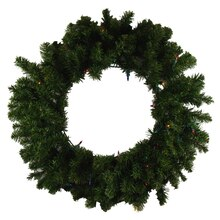 Pre-Lit Canadian Pine Artificial Christmas Wreath - Multi Lights