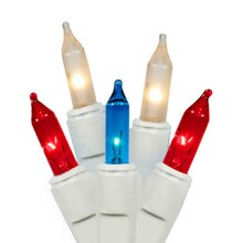 Set of 50 Red, White & Blue Mini Twinkle Christmas Lights, White Wire