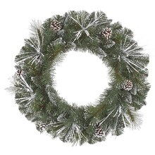 Flocked and Glittered Mixed Pine Artificial Christmas Wreath