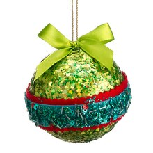 Christmas Brites Green, Red and Blue Sequin and Bead Ball Ornament with Bow