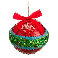 Christmas Brites Red, Green and Blue Sequin and Bead Ball Ornament with Bow