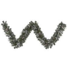 "9' x 10"" Flocked and Glittered Mixed Pine Artificial Christmas Garland - Unlit"