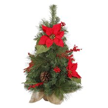 Poinsettia and Pine Cone Artificial Christmas Tree in Burlap Base