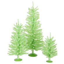 Set of 3 Chartreuse Green Artificial Christmas Trees, Unlit