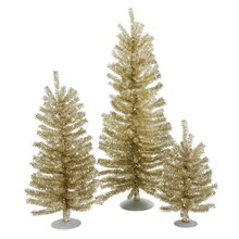 Set of 3 Champagne Artificial Tinsel Christmas Trees, Unlit