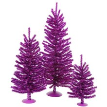 Set of 3 Purple Artificial Tinsel Christmas Trees, Unlit