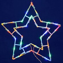 Lighted LED Double Star Christmas Window Silhouette Decoration