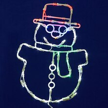 Lighted LED Smiling Snowman Christmas Window Silhouette Decoration