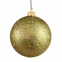 Olive Green Holographic Glitter Shatterproof Christmas Ball Ornament