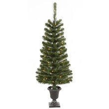 4 ft. Pre-Lit Green Spruce Potted Christmas Trees With Clear Lights, 2 Pack
