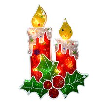 Lighted Double-Sided Holographic Berry Candle Christmas Window Silhouette