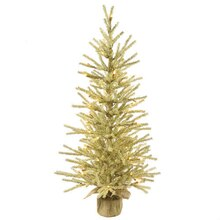 "18"" Pre-Lit Champagne Tinsel Christmas Twig Tree in Burlap Base, Clear Lights"