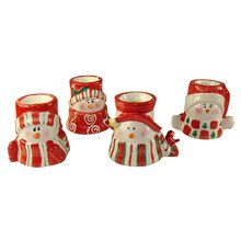 Ceramic Snowman Christmas Taper Candle Holders