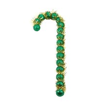 Green Glitter Beaded Candy Cane Christmas Ornaments