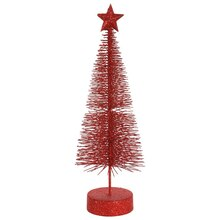 Pack of 2 Red Hot Glitter Sisal Artificial Table Top Christmas Trees 12""