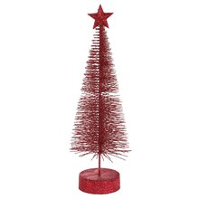 Pack of 2 Burgundy Glitter Sisal Artificial Table Top Christmas Trees 12""