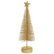 Pack of 2 Vegas Gold Glitter Sisal Artificial Table Top Christmas Trees 12""