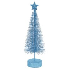 Pack of 2 Turquoise Blue Glitter Sisal Artificial Table Top Christmas Trees 12""