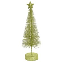 Pack of 2 Green Kiwi Glitter Sisal Artificial Table Top Christmas Trees 12""