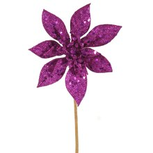 "Fuchsia 11"" Glitter Poinsettia Christmas Pick, medium"