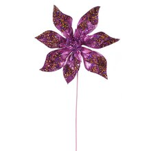 "24"" Glitter Beaded Poinsettia Christmas Pick, Fuchsia"