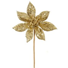 "11"" Glitter Poinsettia Christmas Pick, Gold"